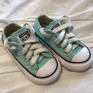 Converse all star turquoise toddler shoes 5